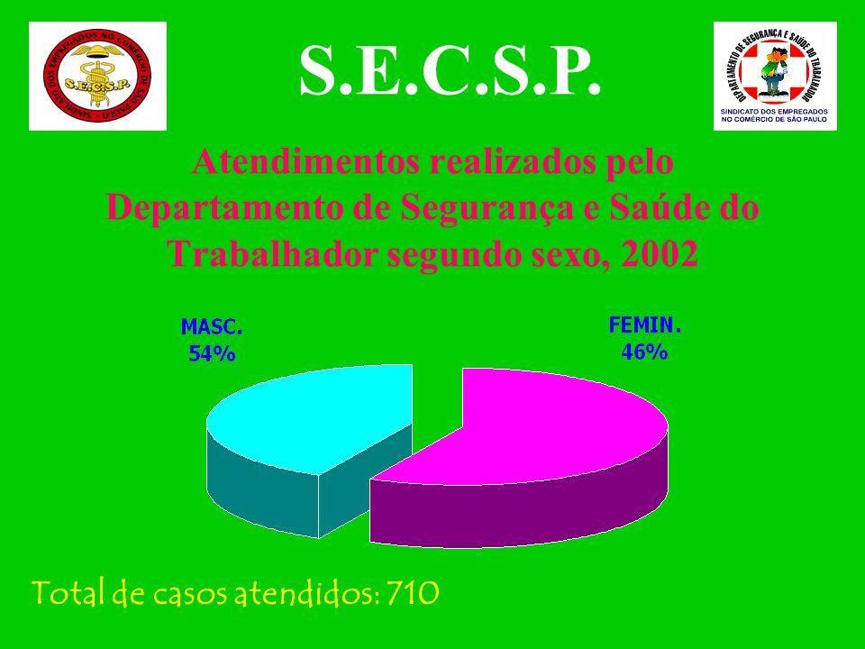 Atendimentos realizados pelo Departamento de Segurança e Saúde do Trabalhador, 1999 a 2002 S.E.C.S.P. Fonte: Departamento de Segurança e Saúde do Trab