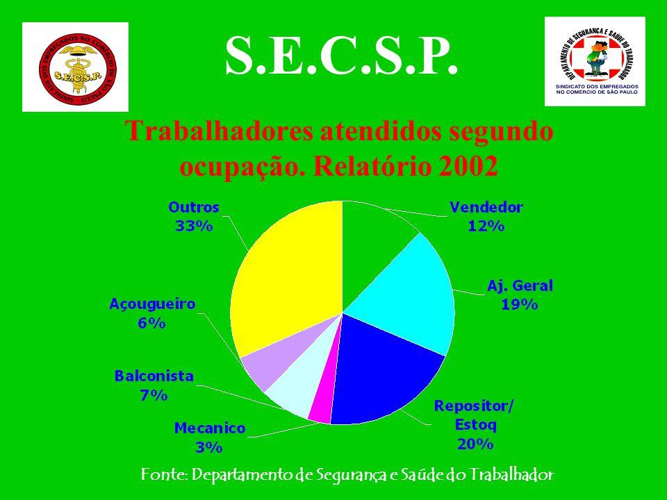 Trabalhadoras atendidas segundo ocupação. Relatório 2002 Fonte: Departamento de Segurança e Saúde do Trabalhador S.E.C.S.P.