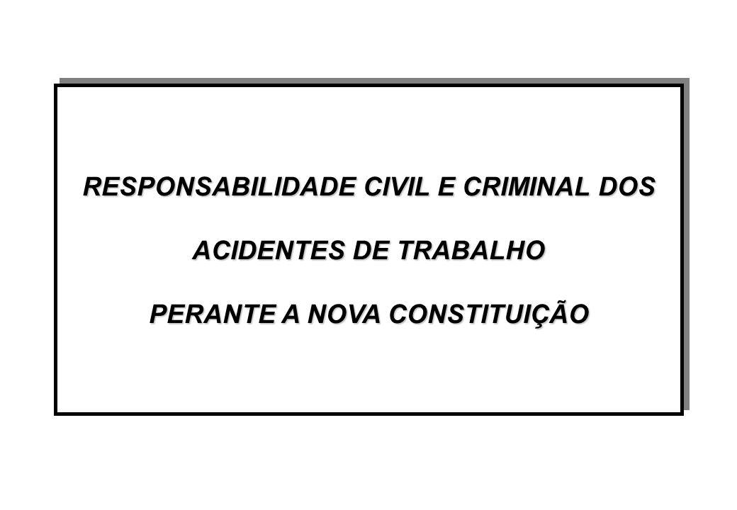 RESPONSABILIDADE CIVIL E CRIMINAL DOS ACIDENTES DE TRABALHO PERANTE A NOVA CONSTITUIÇÃO RESPONSABILIDADE CIVIL E CRIMINAL DOS ACIDENTES DE TRABALHO PERANTE A NOVA CONSTITUIÇÃO