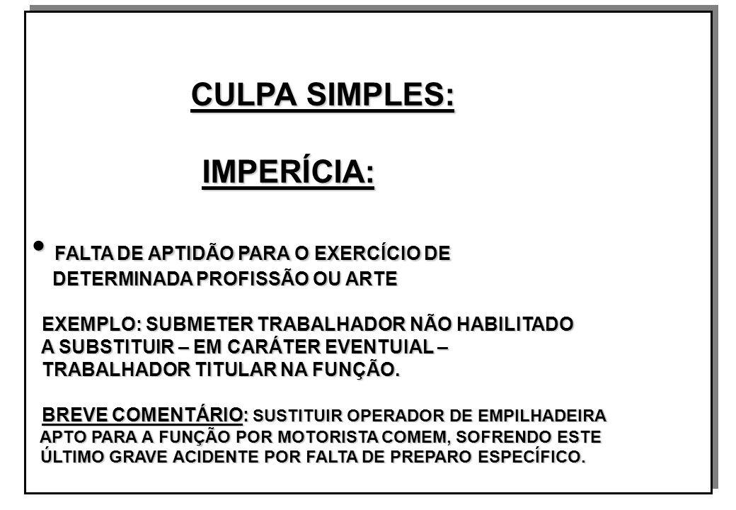 CULPA SIMPLES: CULPA SIMPLES: IMPERÍCIA: IMPERÍCIA: FALTA DE APTIDÃO PARA O EXERCÍCIO DE FALTA DE APTIDÃO PARA O EXERCÍCIO DE DETERMINADA PROFISSÃO OU ARTE DETERMINADA PROFISSÃO OU ARTE EXEMPLO: SUBMETER TRABALHADOR NÃO HABILITADO EXEMPLO: SUBMETER TRABALHADOR NÃO HABILITADO A SUBSTITUIR – EM CARÁTER EVENTUIAL – A SUBSTITUIR – EM CARÁTER EVENTUIAL – TRABALHADOR TITULAR NA FUNÇÃO.