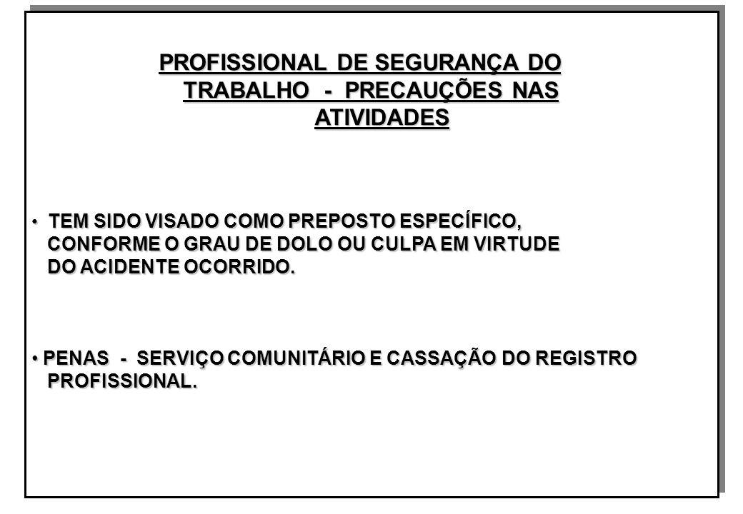 PROFISSIONAL DE SEGURANÇA DO PROFISSIONAL DE SEGURANÇA DO TRABALHO - PRECAUÇÕES NAS TRABALHO - PRECAUÇÕES NAS ATIVIDADES ATIVIDADES TEM SIDO VISADO COMO PREPOSTO ESPECÍFICO, TEM SIDO VISADO COMO PREPOSTO ESPECÍFICO, CONFORME O GRAU DE DOLO OU CULPA EM VIRTUDE CONFORME O GRAU DE DOLO OU CULPA EM VIRTUDE DO ACIDENTE OCORRIDO.