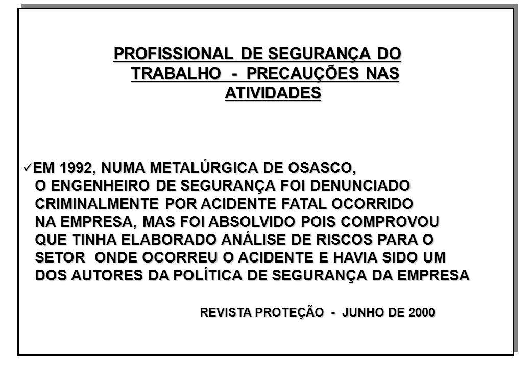 PROFISSIONAL DE SEGURANÇA DO PROFISSIONAL DE SEGURANÇA DO TRABALHO - PRECAUÇÕES NAS TRABALHO - PRECAUÇÕES NAS ATIVIDADES ATIVIDADES EM 1992, NUMA METALÚRGICA DE OSASCO, EM 1992, NUMA METALÚRGICA DE OSASCO, O ENGENHEIRO DE SEGURANÇA FOI DENUNCIADO O ENGENHEIRO DE SEGURANÇA FOI DENUNCIADO CRIMINALMENTE POR ACIDENTE FATAL OCORRIDO CRIMINALMENTE POR ACIDENTE FATAL OCORRIDO NA EMPRESA, MAS FOI ABSOLVIDO POIS COMPROVOU NA EMPRESA, MAS FOI ABSOLVIDO POIS COMPROVOU QUE TINHA ELABORADO ANÁLISE DE RISCOS PARA O QUE TINHA ELABORADO ANÁLISE DE RISCOS PARA O SETOR ONDE OCORREU O ACIDENTE E HAVIA SIDO UM SETOR ONDE OCORREU O ACIDENTE E HAVIA SIDO UM DOS AUTORES DA POLÍTICA DE SEGURANÇA DA EMPRESA DOS AUTORES DA POLÍTICA DE SEGURANÇA DA EMPRESA REVISTA PROTEÇÃO - JUNHO DE 2000 REVISTA PROTEÇÃO - JUNHO DE 2000 PROFISSIONAL DE SEGURANÇA DO PROFISSIONAL DE SEGURANÇA DO TRABALHO - PRECAUÇÕES NAS TRABALHO - PRECAUÇÕES NAS ATIVIDADES ATIVIDADES EM 1992, NUMA METALÚRGICA DE OSASCO, EM 1992, NUMA METALÚRGICA DE OSASCO, O ENGENHEIRO DE SEGURANÇA FOI DENUNCIADO O ENGENHEIRO DE SEGURANÇA FOI DENUNCIADO CRIMINALMENTE POR ACIDENTE FATAL OCORRIDO CRIMINALMENTE POR ACIDENTE FATAL OCORRIDO NA EMPRESA, MAS FOI ABSOLVIDO POIS COMPROVOU NA EMPRESA, MAS FOI ABSOLVIDO POIS COMPROVOU QUE TINHA ELABORADO ANÁLISE DE RISCOS PARA O QUE TINHA ELABORADO ANÁLISE DE RISCOS PARA O SETOR ONDE OCORREU O ACIDENTE E HAVIA SIDO UM SETOR ONDE OCORREU O ACIDENTE E HAVIA SIDO UM DOS AUTORES DA POLÍTICA DE SEGURANÇA DA EMPRESA DOS AUTORES DA POLÍTICA DE SEGURANÇA DA EMPRESA REVISTA PROTEÇÃO - JUNHO DE 2000 REVISTA PROTEÇÃO - JUNHO DE 2000