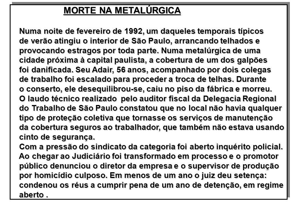 MORTE NA METALÚRGICA MORTE NA METALÚRGICA Numa noite de fevereiro de 1992, um daqueles temporais típicos Numa noite de fevereiro de 1992, um daqueles temporais típicos de verão atingiu o interior de São Paulo, arrancando telhados e de verão atingiu o interior de São Paulo, arrancando telhados e provocando estragos por toda parte.