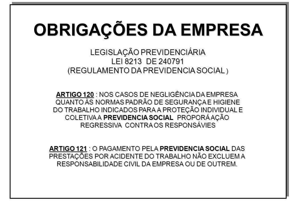 OBRIGAÇÕES DA EMPRESA LEGISLAÇÃO PREVIDENCIÁRIA LEI 8213 DE 240791 (REGULAMENTO DA PREVIDENCIA SOCIAL ) ARTIGO 120 : NOS CASOS DE NEGLIGÊNCIA DA EMPRESA QUANTO ÀS NORMAS PADRÃO DE SEGURANÇA E HIGIENE DO TRABALHO INDICADOS PARA A PROTEÇÃO INDIVIDUAL E COLETIVA A PREVIDENCIA SOCIAL PROPORÁ AÇÃO REGRESSIVA CONTRA OS RESPONSÁVIES ARTIGO 121 : O PAGAMENTO PELA PREVIDENCIA SOCIAL DAS PRESTAÇÕES POR ACIDENTE DO TRABALHO NÃO EXCLUEM A RESPONSABILIDADE CIVIL DA EMPRESA OU DE OUTREM.