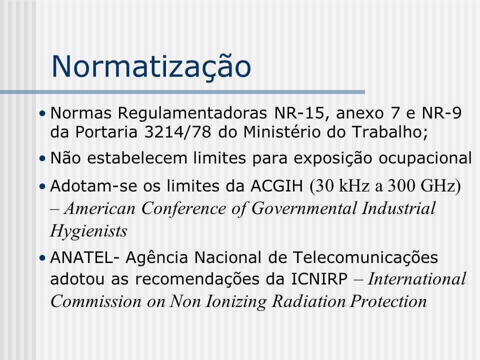 Normatização Normas Regulamentadoras NR-15, anexo 7 e NR-9 da Portaria 3214/78 do Ministério do Trabalho; Não estabelecem limites para exposição ocupa