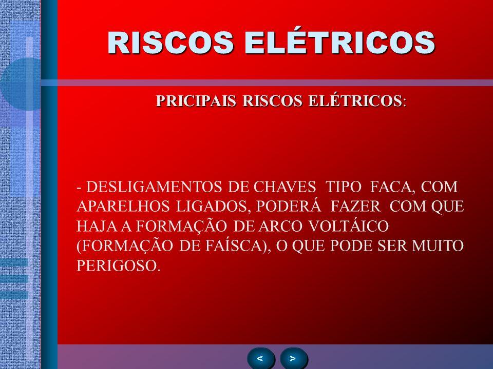 RISCOS ELÉTRICOS > > < < PRICIPAIS RISCOS ELÉTRICOS: - DESLIGAMENTOS DE CHAVES TIPO FACA, COM APARELHOS LIGADOS, PODERÁ FAZER COM QUE HAJA A FORMAÇÃO