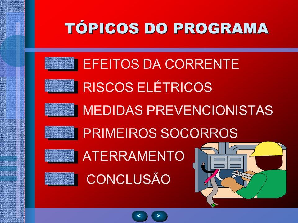 TÓPICOS DO PROGRAMA EFEITOS DA CORRENTE RISCOS ELÉTRICOS MEDIDAS PREVENCIONISTAS PRIMEIROS SOCORROS ATERRAMENTO CONCLUSÃO > > < <