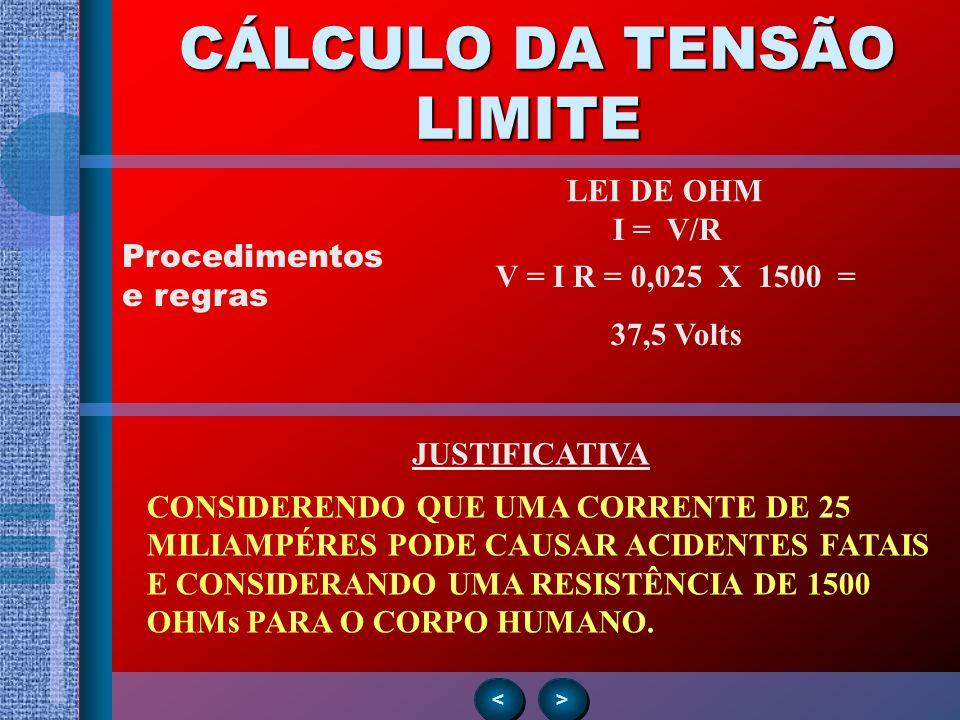 Procedimentos e regras > > < < CÁLCULO DA TENSÃO LIMITE CÁLCULO DA TENSÃO LIMITE V = I R = 0,025 X 1500 = 37,5 Volts LEI DE OHM JUSTIFICATIVA CONSIDER