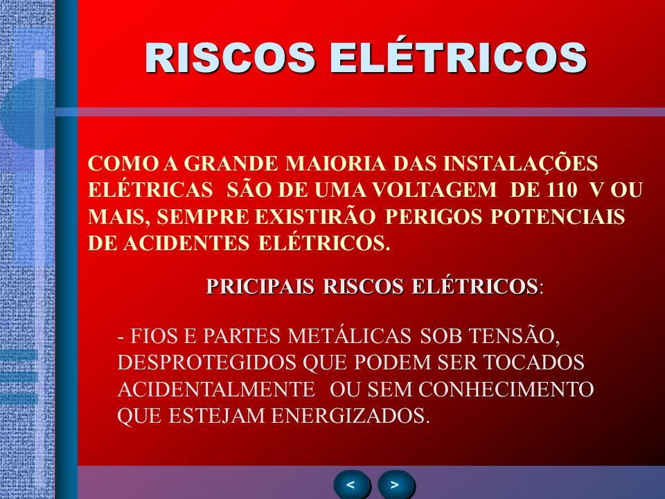 RISCOS ELÉTRICOS > > < < COMO A GRANDE MAIORIA DAS INSTALAÇÕES ELÉTRICAS SÃO DE UMA VOLTAGEM DE 110 V OU MAIS, SEMPRE EXISTIRÃO PERIGOS POTENCIAIS DE