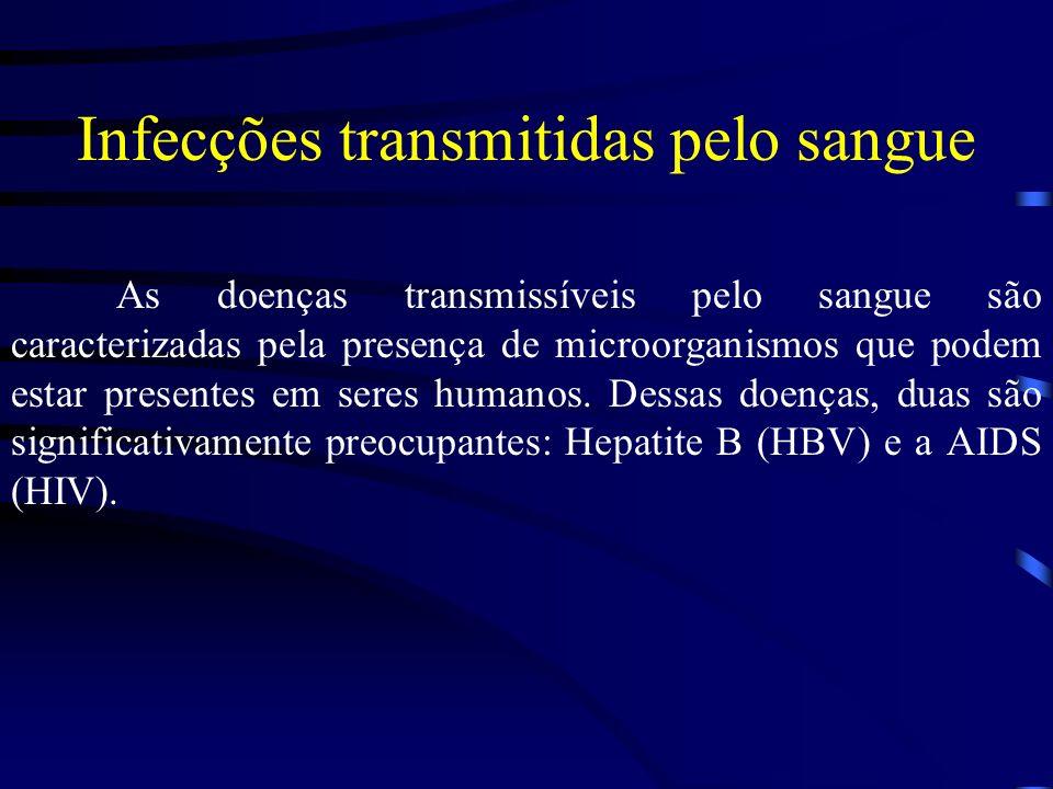 Infecções transmitidas pelo sangue As doenças transmissíveis pelo sangue são caracterizadas pela presença de microorganismos que podem estar presentes