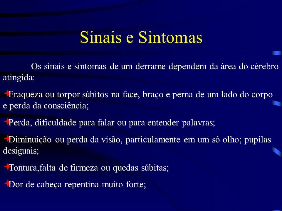 Sinais e Sintomas Os sinais e sintomas de um derrame dependem da área do cérebro atingida: Fraqueza ou torpor súbitos na face, braço e perna de um lad