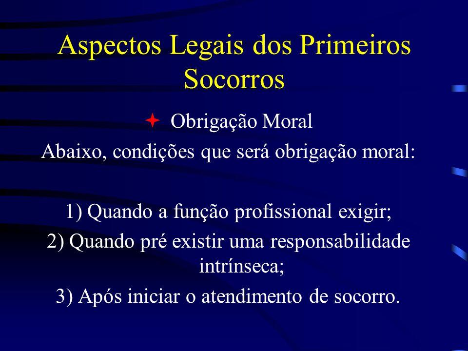 Aspectos Legais dos Primeiros Socorros Obrigação Moral Abaixo, condições que será obrigação moral: 1) Quando a função profissional exigir; 2) Quando p