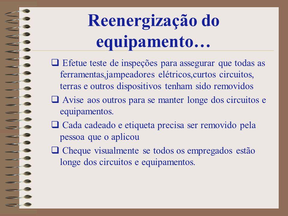 Reenergização do equipamento… Efetue teste de inspeções para assegurar que todas as ferramentas,jampeadores elétricos,curtos circuitos, terras e outro