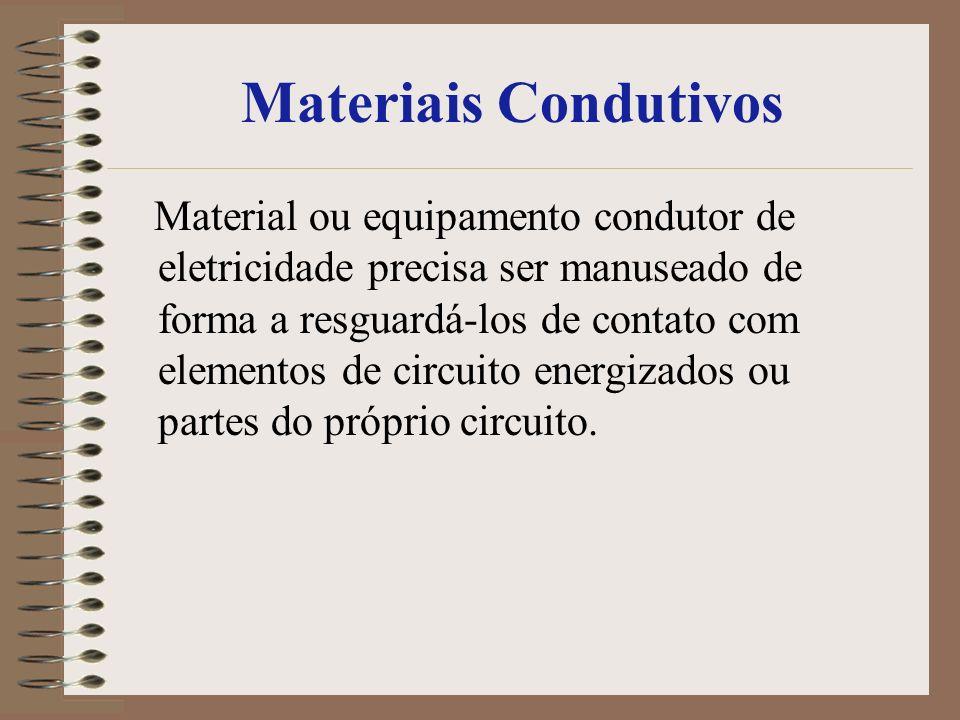 Materiais Condutivos Material ou equipamento condutor de eletricidade precisa ser manuseado de forma a resguardá-los de contato com elementos de circu