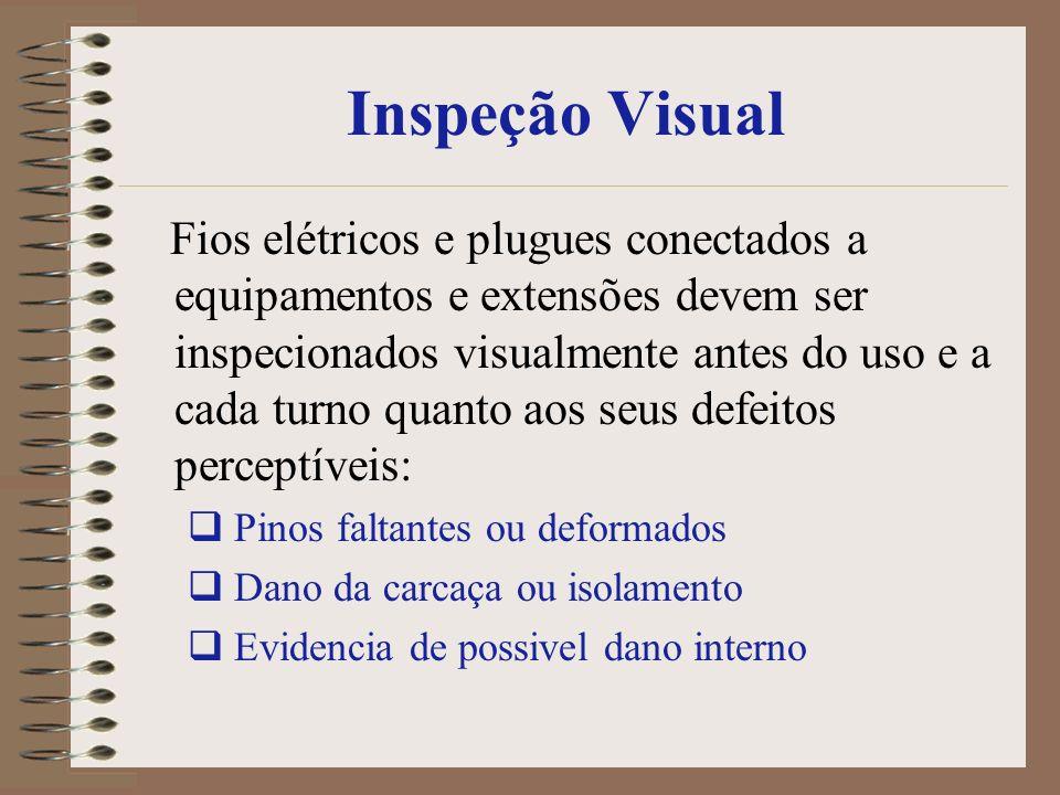 Inspeção Visual Fios elétricos e plugues conectados a equipamentos e extensões devem ser inspecionados visualmente antes do uso e a cada turno quanto