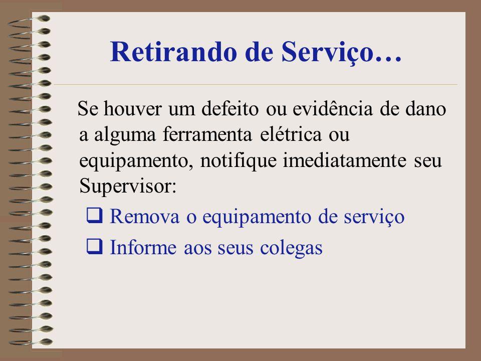 Retirando de Serviço… Se houver um defeito ou evidência de dano a alguma ferramenta elétrica ou equipamento, notifique imediatamente seu Supervisor: R