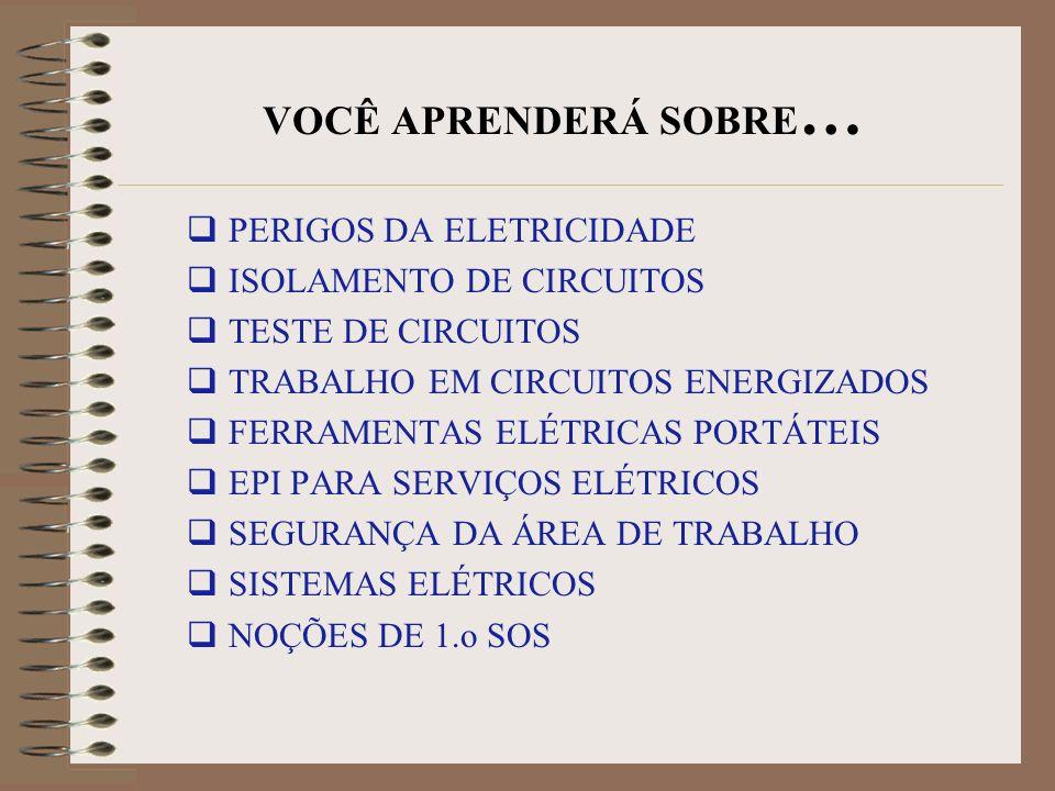 SEGURANÇA ELÉTRICA Treinamento especial é requerido para trabalhos em equipamentos eletricos Somente pessoal autorizado pode efetuar serviços em eletricidade
