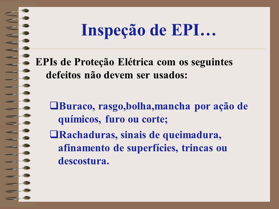 Inspeção de EPI… EPIs de Proteção Elétrica com os seguintes defeitos não devem ser usados: Buraco, rasgo,bolha,mancha por ação de químicos, furo ou co