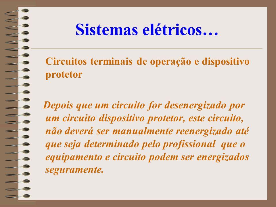 Sistemas elétricos… Circuitos terminais de operação e dispositivo protetor Depois que um circuito for desenergizado por um circuito dispositivo protet