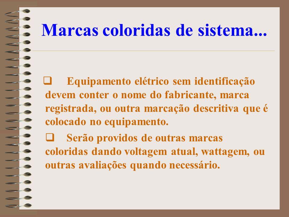 Marcas coloridas de sistema... Equipamento elétrico sem identificação devem conter o nome do fabricante, marca registrada, ou outra marcação descritiv