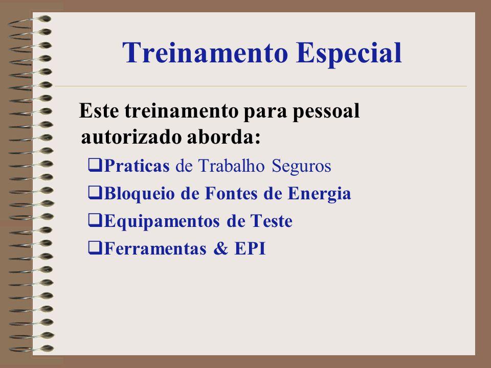 Treinamento Especial Este treinamento para pessoal autorizado aborda: Praticas de Trabalho Seguros Bloqueio de Fontes de Energia Equipamentos de Teste