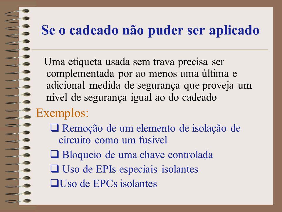 Retirando de Serviço… Se houver um defeito ou evidência de dano a alguma ferramenta elétrica ou equipamento, notifique imediatamente seu Supervisor: Remova o equipamento de serviço Informe aos seus colegas