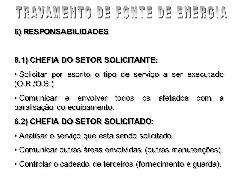 6) RESPONSABILIDADES 6.1) CHEFIA DO SETOR SOLICITANTE: Solicitar por escrito o tipo de serviço a ser executado (O.R./O.S.). Comunicar e envolver todos
