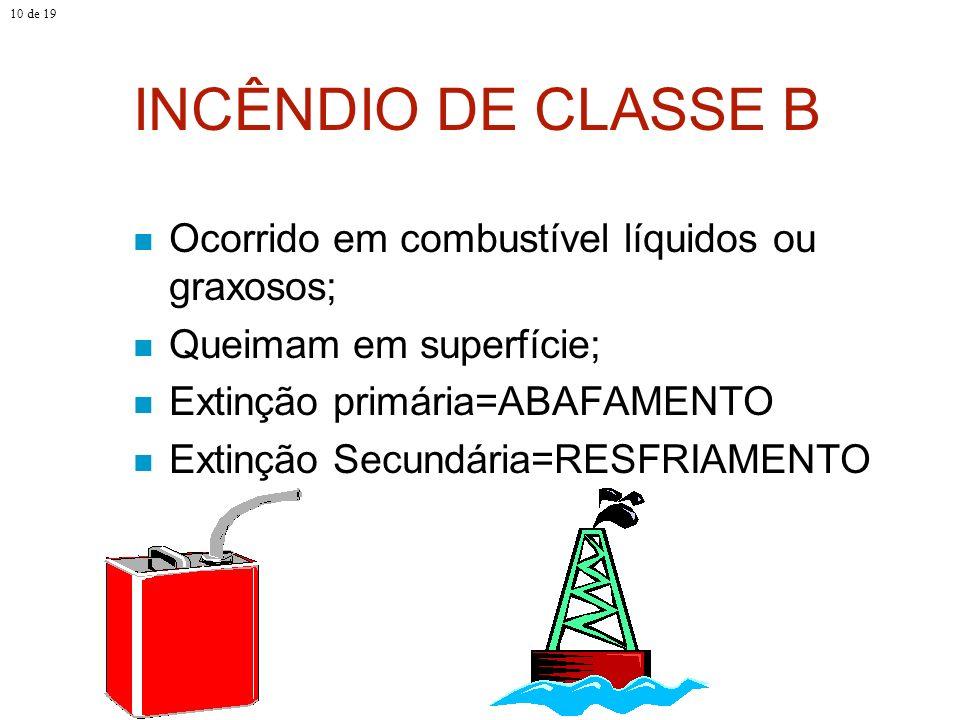 INCÊNDIO DE CLASSE B Ocorrido em combustível líquidos ou graxosos; Queimam em superfície; Extinção primária=ABAFAMENTO Extinção Secundária=RESFRIAMENT