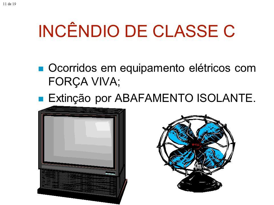 INCÊNDIO DE CLASSE C Ocorridos em equipamento elétricos com FORÇA VIVA; Extinção por ABAFAMENTO ISOLANTE. 11 de 19