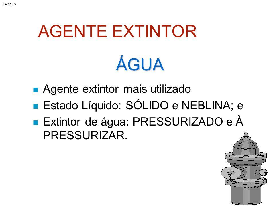 AGENTE EXTINTOR Agente extintor mais utilizado Estado Líquido: SÓLIDO e NEBLINA; e Extintor de água: PRESSURIZADO e À PRESSURIZAR. ÁGUA 14 de 19