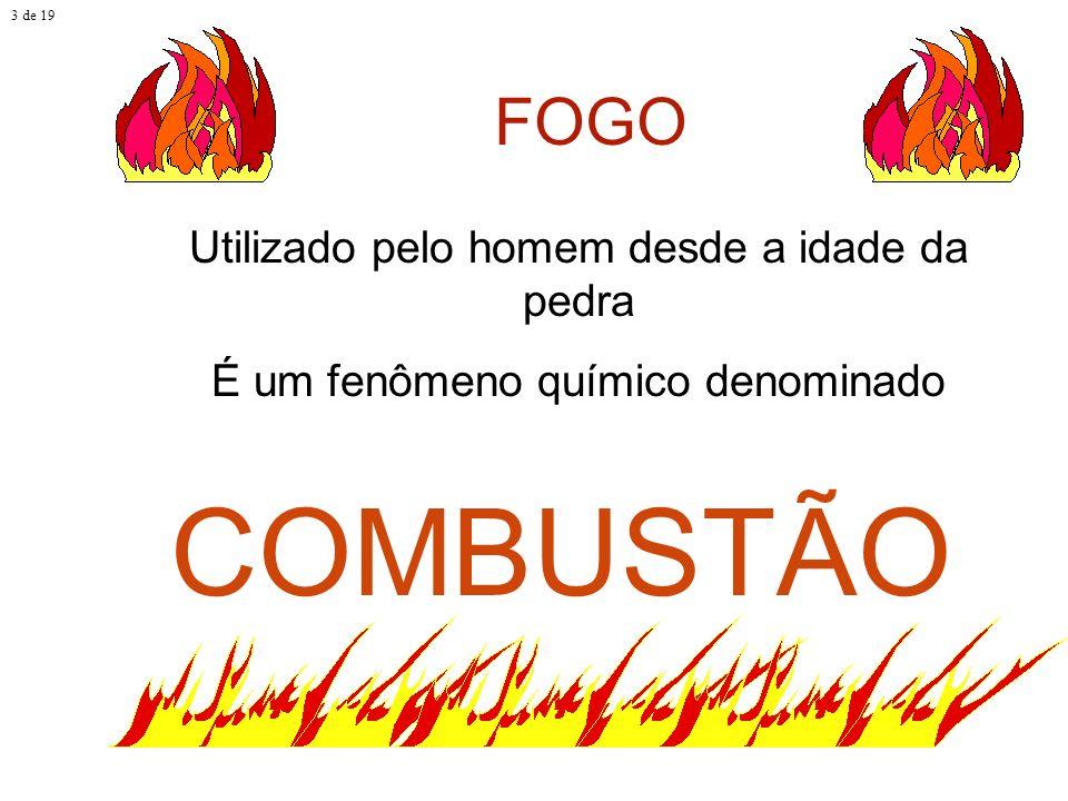 ELEMENTOS ESSENCIAIS DO FOGO Combustível; Comburente; e Calor. 4 de 19