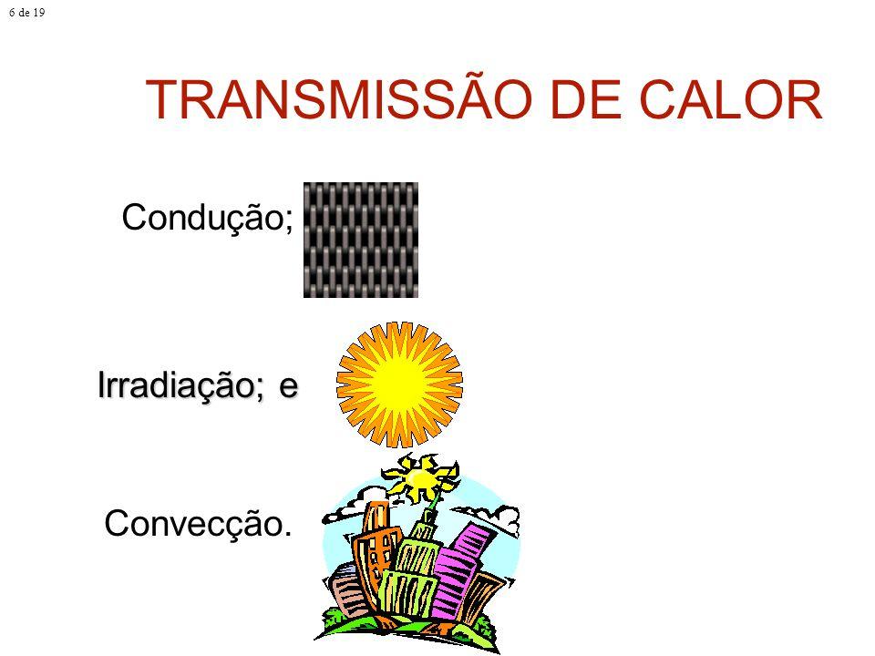 TRANSMISSÃO DE CALOR Condução; Irradiação; e Convecção. 6 de 19