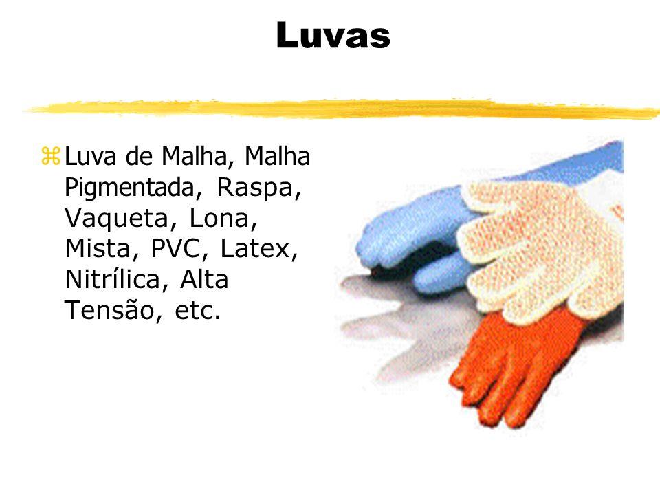 Luvas Luva de Malha, Malha Pigmentada, Raspa, Vaqueta, Lona, Mista, PVC, Latex, Nitrílica, Alta Tensão, etc.