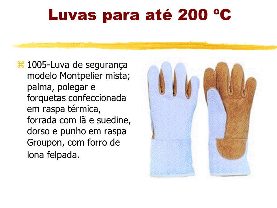 Luvas para até 200 ºC z1005-Luva de segurança modelo Montpelier mista; palma, polegar e forquetas confeccionada em raspa térmica, forrada com lã e suedine, dorso e punho em raspa Groupon, com forro de lona felpada.