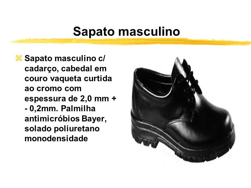 Sapato masculino zSapato masculino c/ cadarço, cabedal em couro vaqueta curtida ao cromo com espessura de 2,0 mm + - 0,2mm. Palmilha antimicróbios Bay
