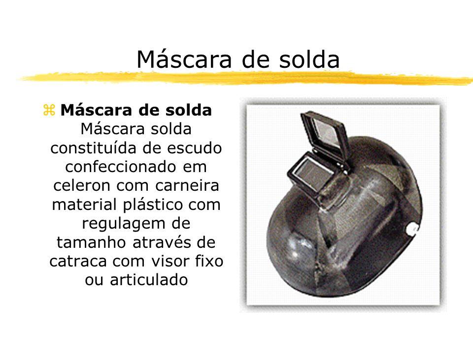 Máscara de solda zMáscara de solda Máscara solda constituída de escudo confeccionado em celeron com carneira material plástico com regulagem de tamanho através de catraca com visor fixo ou articulado