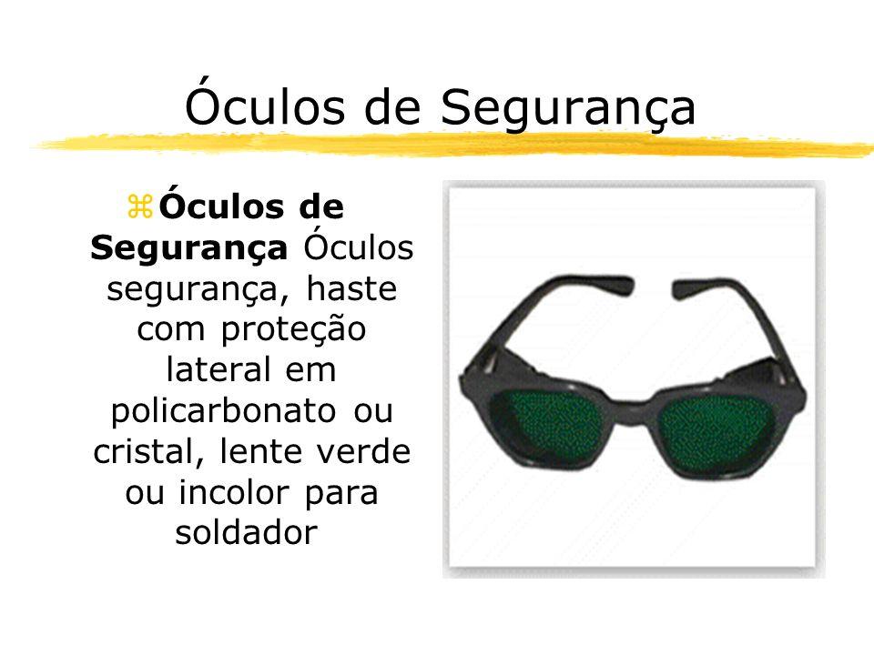 Óculos de Segurança zÓculos de Segurança Óculos segurança, haste com proteção lateral em policarbonato ou cristal, lente verde ou incolor para soldador.