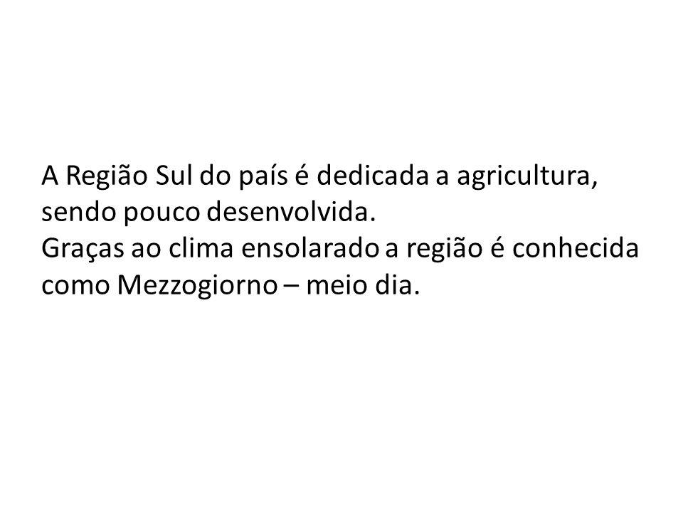 A Região Sul do país é dedicada a agricultura, sendo pouco desenvolvida. Graças ao clima ensolarado a região é conhecida como Mezzogiorno – meio dia.