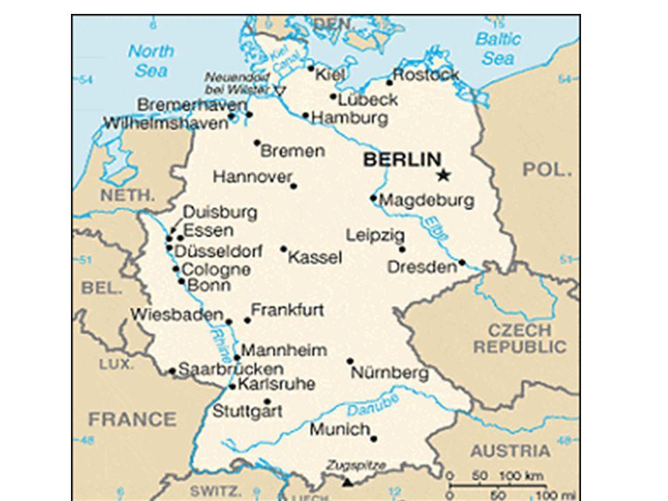 Regiões alemãs Noroeste: principal área industrial do país, com as cidades de Colônia, Bonn, Essen, Düsseldorf e Dortmund ao longo rio Reno.