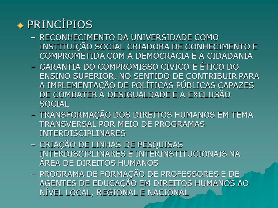 PRINCÍPIOS PRINCÍPIOS –RECONHECIMENTO DA UNIVERSIDADE COMO INSTITUIÇÃO SOCIAL CRIADORA DE CONHECIMENTO E COMPROMETIDA COM A DEMOCRACIA E A CIDADANIA –