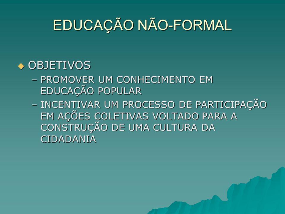EDUCAÇÃO NÃO-FORMAL OBJETIVOS OBJETIVOS –PROMOVER UM CONHECIMENTO EM EDUCAÇÃO POPULAR –INCENTIVAR UM PROCESSO DE PARTICIPAÇÃO EM AÇÕES COLETIVAS VOLTA