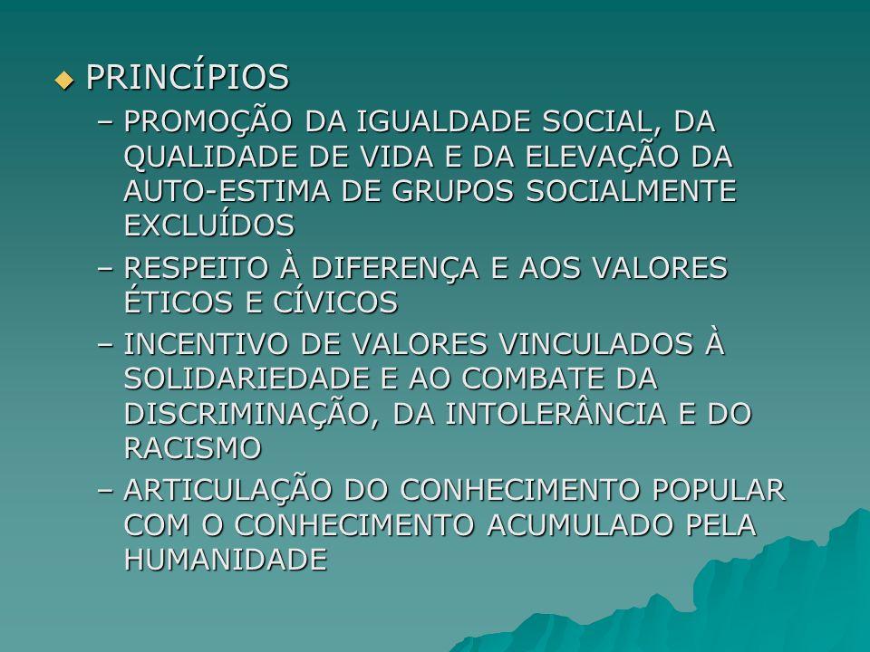 PRINCÍPIOS PRINCÍPIOS –PROMOÇÃO DA IGUALDADE SOCIAL, DA QUALIDADE DE VIDA E DA ELEVAÇÃO DA AUTO-ESTIMA DE GRUPOS SOCIALMENTE EXCLUÍDOS –RESPEITO À DIF