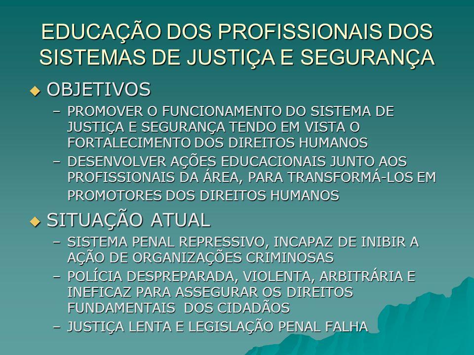 EDUCAÇÃO DOS PROFISSIONAIS DOS SISTEMAS DE JUSTIÇA E SEGURANÇA OBJETIVOS OBJETIVOS –PROMOVER O FUNCIONAMENTO DO SISTEMA DE JUSTIÇA E SEGURANÇA TENDO E