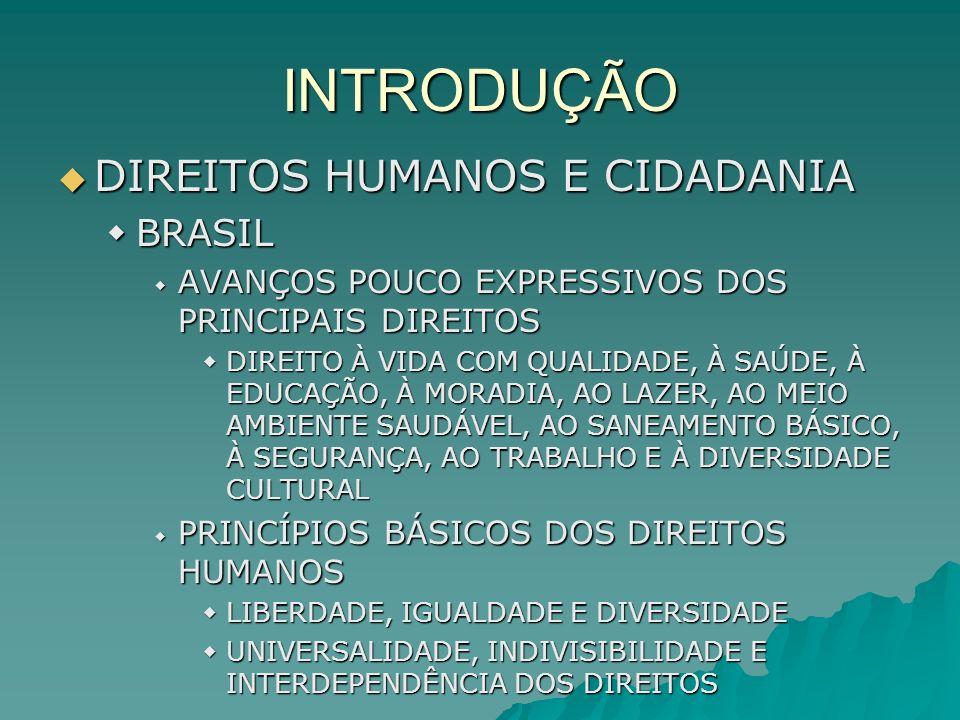 INTRODUÇÃO DIREITOS HUMANOS E CIDADANIA DIREITOS HUMANOS E CIDADANIA BRASIL BRASIL AVANÇOS POUCO EXPRESSIVOS DOS PRINCIPAIS DIREITOS AVANÇOS POUCO EXP