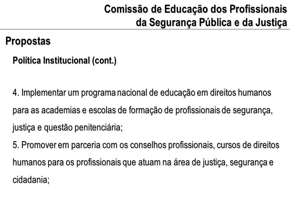 Comissão de Educação dos Profissionais da Segurança Pública e da Justiça Propostas Política Institucional (cont.) 6.