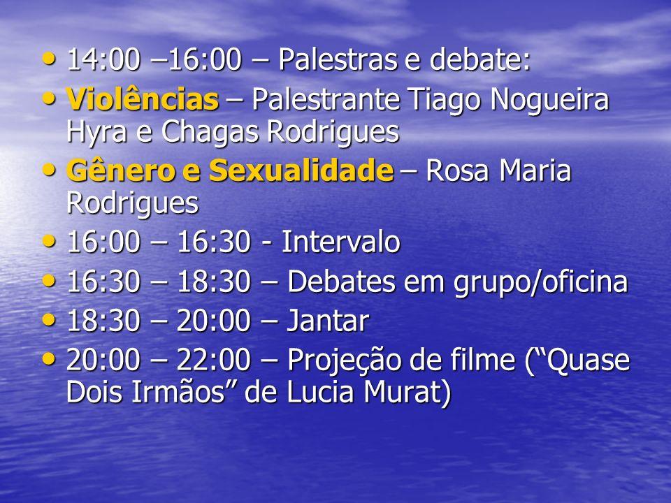 14:00 –16:00 – Palestras e debate: 14:00 –16:00 – Palestras e debate: Violências – Palestrante Tiago Nogueira Hyra e Chagas Rodrigues Violências – Palestrante Tiago Nogueira Hyra e Chagas Rodrigues Gênero e Sexualidade – Rosa Maria Rodrigues Gênero e Sexualidade – Rosa Maria Rodrigues 16:00 – 16:30 - Intervalo 16:00 – 16:30 - Intervalo 16:30 – 18:30 – Debates em grupo/oficina 16:30 – 18:30 – Debates em grupo/oficina 18:30 – 20:00 – Jantar 18:30 – 20:00 – Jantar 20:00 – 22:00 – Projeção de filme (Quase Dois Irmãos de Lucia Murat) 20:00 – 22:00 – Projeção de filme (Quase Dois Irmãos de Lucia Murat)
