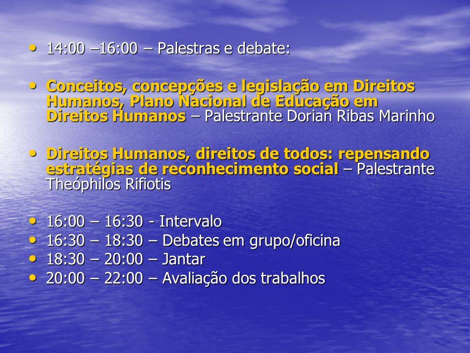 14:00 –16:00 – Palestras e debate: 14:00 –16:00 – Palestras e debate: Conceitos, concepções e legislação em Direitos Humanos, Plano Nacional de Educação em Direitos Humanos – Palestrante Dorian Ribas Marinho Conceitos, concepções e legislação em Direitos Humanos, Plano Nacional de Educação em Direitos Humanos – Palestrante Dorian Ribas Marinho Direitos Humanos, direitos de todos: repensando estratégias de reconhecimento social – Palestrante Theóphilos Rifiotis Direitos Humanos, direitos de todos: repensando estratégias de reconhecimento social – Palestrante Theóphilos Rifiotis 16:00 – 16:30 - Intervalo 16:00 – 16:30 - Intervalo 16:30 – 18:30 – Debates em grupo/oficina 16:30 – 18:30 – Debates em grupo/oficina 18:30 – 20:00 – Jantar 18:30 – 20:00 – Jantar 20:00 – 22:00 – Avaliação dos trabalhos 20:00 – 22:00 – Avaliação dos trabalhos