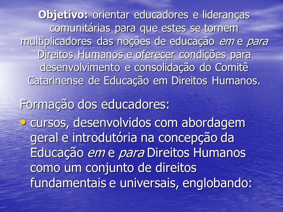 Objetivo: orientar educadores e lideranças comunitárias para que estes se tornem multiplicadores das noções de educação em e para Direitos Humanos e oferecer condições para desenvolvimento e consolidação do Comitê Catarinense de Educação em Direitos Humanos.