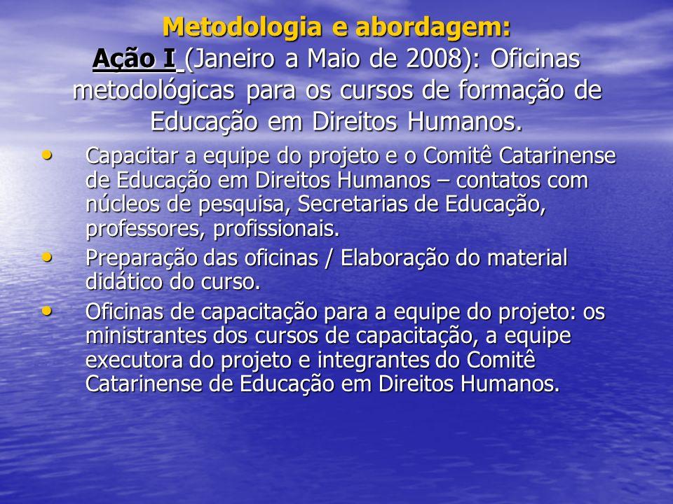 Metodologia e abordagem: Ação I (Janeiro a Maio de 2008): Oficinas metodológicas para os cursos de formação de Educação em Direitos Humanos.