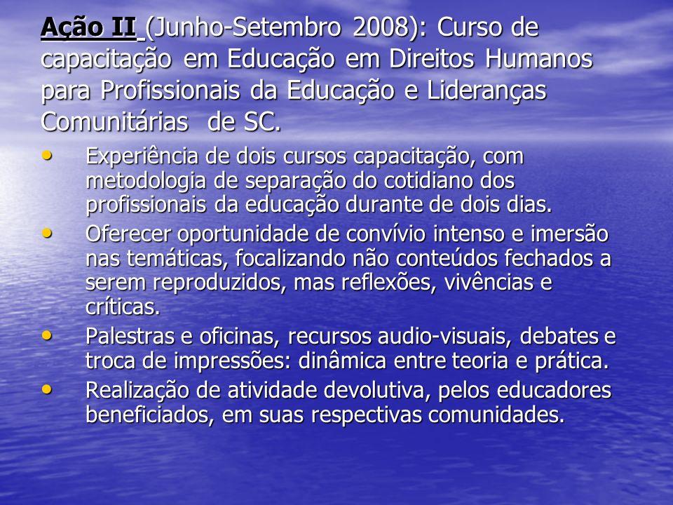 Ação II (Junho-Setembro 2008): Curso de capacitação em Educação em Direitos Humanos para Profissionais da Educação e Lideranças Comunitárias de SC.